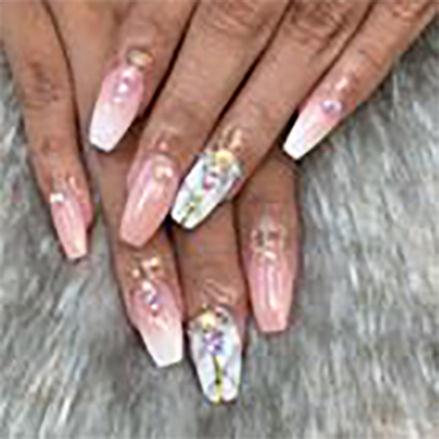 Full Set of Acrylic Nails Pink \u0026 White Ombre , $45